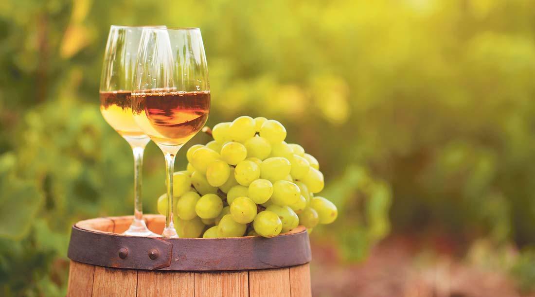 Uvas e Vinho Moscatel sobre barrica